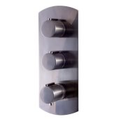 Brushed Nickel Round 2 Way Thermostatic Shower Mixer, 5-5/16'' W x 12-1/2'' H