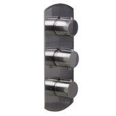 Brushed Nickel Concealed 3-Way Thermostatic Valve Shower Mixer Round Knobs, 5-3/8'' W x 12-1/2'' H