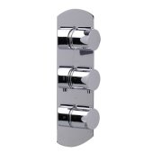 Polished Chrome Concealed 3-Way Thermostatic Valve Shower Mixer Round Knobs, 5-3/8'' W x 12-1/2'' H