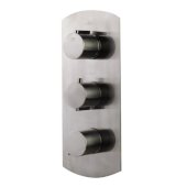Brushed Nickel Concealed 4-Way Thermostatic Valve Shower Mixer /w Round Knobs, 12-1/2'' W x 5-1/4'' D x 2'' H