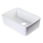 White 23'' Smooth Apron Fireclay Single Bowl Farmhouse Kitchen Sink, 23-3/8'' W x 16-1/8'' D x 8'' H