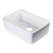 24'' White Single Bowl Fireclay Undermount Kitchen Sink, 23-3/8'' W x 16-1/8'' D x 8'' H