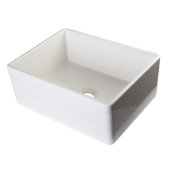 Biscuit 26'' Decorative Lip Apron Single Bowl Fireclay Farmhouse Kitchen Sink, 26'' W x 20'' D x 10'' H