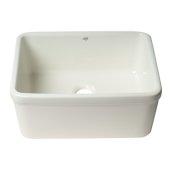 ALFI brand 20'' Single Bowl Apron Fireclay Farmhouse Kitchen Sink in White, 19-1/2'' W x 15-5/8'' D x 8'' H