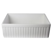 White 30'' Fluted Apron Single Bowl Fireclay Farmhouse Kitchen Sink, 29-7/8'' W x 19-3/4'' D x 10'' H