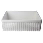 White 30'' Fluted Apron Single Bowl Fireclay Farmhouse Kitchen Sink, 29-7/8'' W x 19-3/4'' D x 10'' H