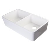 White 32'' Double Bowl Lip Apron Fireclay Farmhouse Kitchen Sink with 1-3/4'' Lip, 31-3/4'' W x 17-3/4'' D x 8'' H