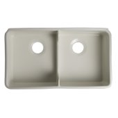 Biscuit 32'' Short Wall Double Bowl Lip Apron Fireclay Farmhouse Kitchen Sink, 31-3/4'' W x 17-3/4'' D x 8-1/2'' H