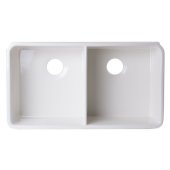32'' Biscuit Double Bowl Fireclay Undermount Kitchen Sink, 32'' W x 18'' D x 8'' H