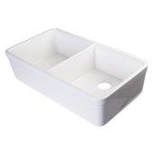 32'' White Double Bowl Fireclay Undermount Kitchen Sink, 32'' W x 18'' D x 8'' H