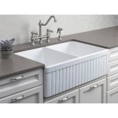White 32'' Fluted Apron Double Bowl Fireclay Farmhouse Kitchen Sink, 32-3/4'' W x 19-7/8'' D x 10'' H