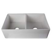 White 32'' Smooth Apron Double Bowl Fireclay Farmhouse Kitchen Sink, 32-3/4'' W x 19-7/8'' D x 10'' H