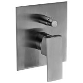 Brushed Nickel Shower Valve Mixer with Square Lever Handle and Diverter, 5-1/8'' W x 7-1/4'' D x 2'' H