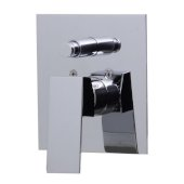 Polished Chrome Shower Valve Mixer with Square Lever Handle and Diverter, 5-1/8'' W x 7-1/4'' D x 2'' H