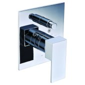 Polished Chrome Modern Square Pressure Balanced Shower Mixer with Diverter, 5-3/4'' W x 7-1/2'' D x 3'' H