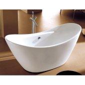 68'' White Oval Acrylic Free Standing Soaking Bathtub, 67-3/4'' W x 29-1/8'' D x 29-1/8'' H