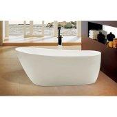 68'' White Oval Acrylic Free Standing Soaking Bathtub, 68-1/8'' W x 30-1/2'' D x 28'' H