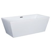67'' White Rectangular Acrylic Free Standing Soaking Bathtub, 66-3/4'' W x 31-1/2'' D x 23-5/8'' H