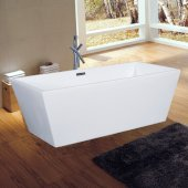 ALFI brand 59'' Rectangular Acrylic Free Standing Soaking Bathtub in White, 59-1/16'' W x 29-1/2'' D x 22-3/4'' H