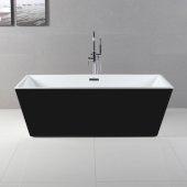 ALFI brand 59'' Black & Rectangular Acrylic Free Standing Soaking Bathtub in Black, 59-1/16'' W x 29-1/2'' D x 22-3/4'' H