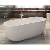 59'' White Oval Acrylic Free Standing Soaking Bathtub, 59'' W x 28'' D x 22-7/8'' H