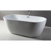 67'' White Oval Acrylic Free Standing Soaking Bathtub, 66-7/8'' W x 29-1/2'' D x 22-7/8'' H