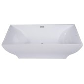 67'' White Rectangular Acrylic Free Standing Soaking Bathtub, 66-3/4'' W x 31-1/2'' D x 23-1/4'' H