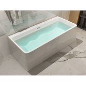 59'' White Rectangular Acrylic Free Standing Soaking Bathtub, 59'' W x 28-3/8'' D x 23-1/4'' H