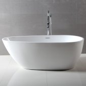 ALFI brand 59'' Oval Acrylic Free Standing Soaking Bathtub in White, 59'' W x 29-1/2'' D x 22-7/8'' H