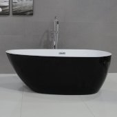 ALFI brand 59'' Black & Oval Acrylic Free Standing Soaking Bathtub in Black, 59'' W x 29-1/2'' D x 22-7/8'' H