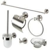 AB9513 Series Brushed Nickel 6-Piece Matching Bathroom Accessory Set