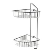 Polished Chrome Corner Mounted Double Basket Shower Shelf Bathroom Accessory, 8-1/4'' W x 8-5/8'' D x 20-1/2'' H