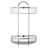 Polished Chrome Wall Mounted Double Basket Shower Shelf Bathroom Accessory, 11'' W x 5-7/8'' D x 16-1/2'' H