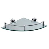 Polished Chrome Corner Mounted Glass Shower Shelf Bathroom Accessory, 12-3/4'' W x 9-7/8'' D x 3-1/2'' H