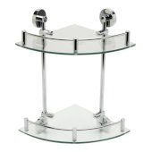 Polished Chrome Corner Mounted Double Glass Shower Shelf Bathroom Accessory, 12-3/4'' W x 10-1/2'' D x 9-5/8'' H
