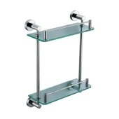 Polished Chrome Wall Mounted Double Glass Shower Shelf Bathroom Accessory, 11-1/4'' W x 4-3/4'' D x 15-1/2'' H