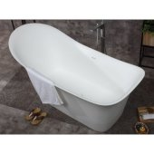 74'' White Solid Surface Smooth Resin Soaking Slipper Bathtub, 74'' W x 33-7/8'' D x 35'' H