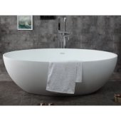 67'' White Oval Solid Surface Smooth Resin Soaking Bathtub, 66-7/8'' W x 39-3/8'' D x 22'' H