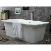 67'' White Rectangular Solid Surface Smooth Resin Soaking Bathtub, 66-7/8'' W x 35-5/8'' D x 23-3/4'' H