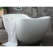 66'' White Solid Surface Smooth Resin Soaking Bathtub, 65-3/4'' W x 31-1/2'' D x 28-1/2'' H