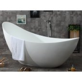 73'' White Solid Surface Smooth Resin Soaking Slipper Bathtub, 73-3/4'' W x 30-3/4'' D x 36-1/2'' H