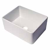ALFI Brand ABF2418 24''W White, Thin Wall, Single Bowl, Smooth Apron Fireclay Kitchen Farm Sink, 24''W x 18''D x 10''H