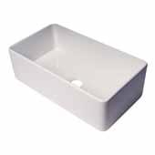 ALFI Brand ABF3318S 33''W White, Thin Wall, Single Bowl, Smooth Apron Fireclay Kitchen Farm Sink, 33''W x 18''D x 10''H