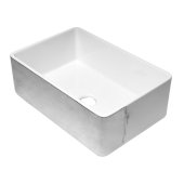 ALFI brand 30'' Reversible Single Fireclay Farmhouse Kitchen Sink in Hammered Platinum/Fluted, 29-3/4'' W x 20-1/8'' D x 9-7/8'' H