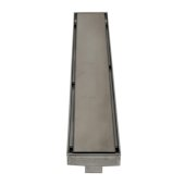 ALFI brand 24'' Long Modern Linear Shower Drain with Solid Cover in Brushed Stainless Steel, 24'' W x 3'' D x 3-1/8'' H