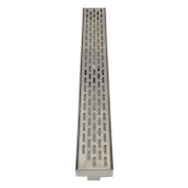 ALFI brand 32'' Modern Linear Shower Drain with Groove Holes in Brushed Stainless Steel, 32'' W x 3'' D x 3-1/8'' H