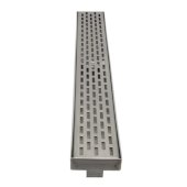 ALFI brand 36'' Modern Linear Shower Drain with Groove Holes in Brushed Stainless Steel, 36'' W x 3'' D x 3-1/8'' H