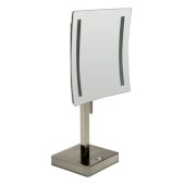 ALFI brand 8'' Tabletop Square 5X Magnifying Cosmetic Mirror with Light in Brushed Nickel, 7-7/8'' W x 7-7/8'' D x 14-5/8'' H