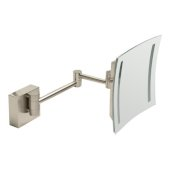 ALFI brand 8'' Wall Mounted Square 5X Magnifying Cosmetic Mirror with Light in Brushed Nickel, 7-7/8'' W x 15-1/2'' D x 7-7/8'' H