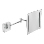 ALFI brand 8'' Wall Mounted Square 5X Magnifying Cosmetic Mirror with Light in Polished Chrome, 7-7/8'' W x 15-1/2'' D x 7-7/8'' H